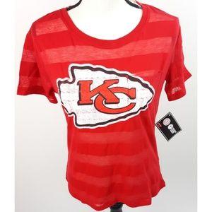 Kansas City Chiefs Stiped Short Sleeve T Shirt NFL